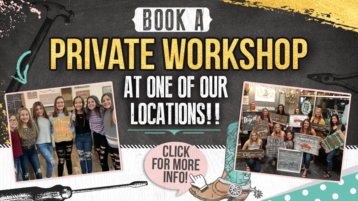Book a private workshop at one of our locations!!